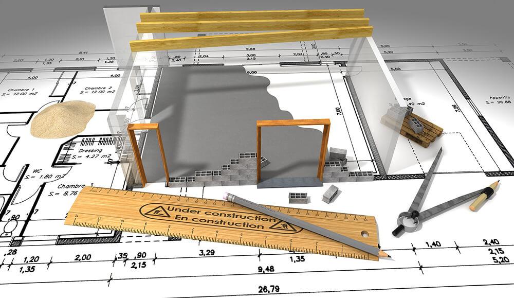 materiali da costruzione su pianta appartemento